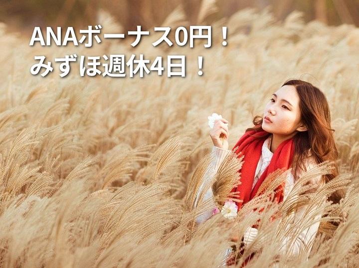 [集客できる起業家へ] ANAボーナス0円!みずほ週休4日!